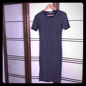 Striped Midi Black and White T-Shirt Dress